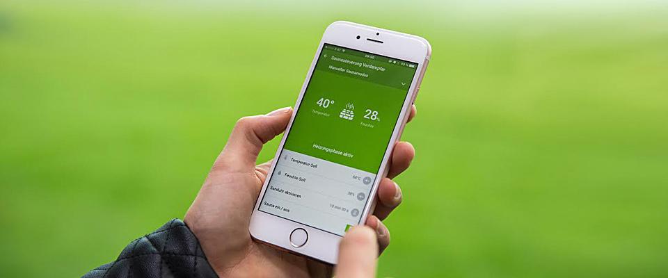 mobilní aplikace pro saunu v chytrém domě