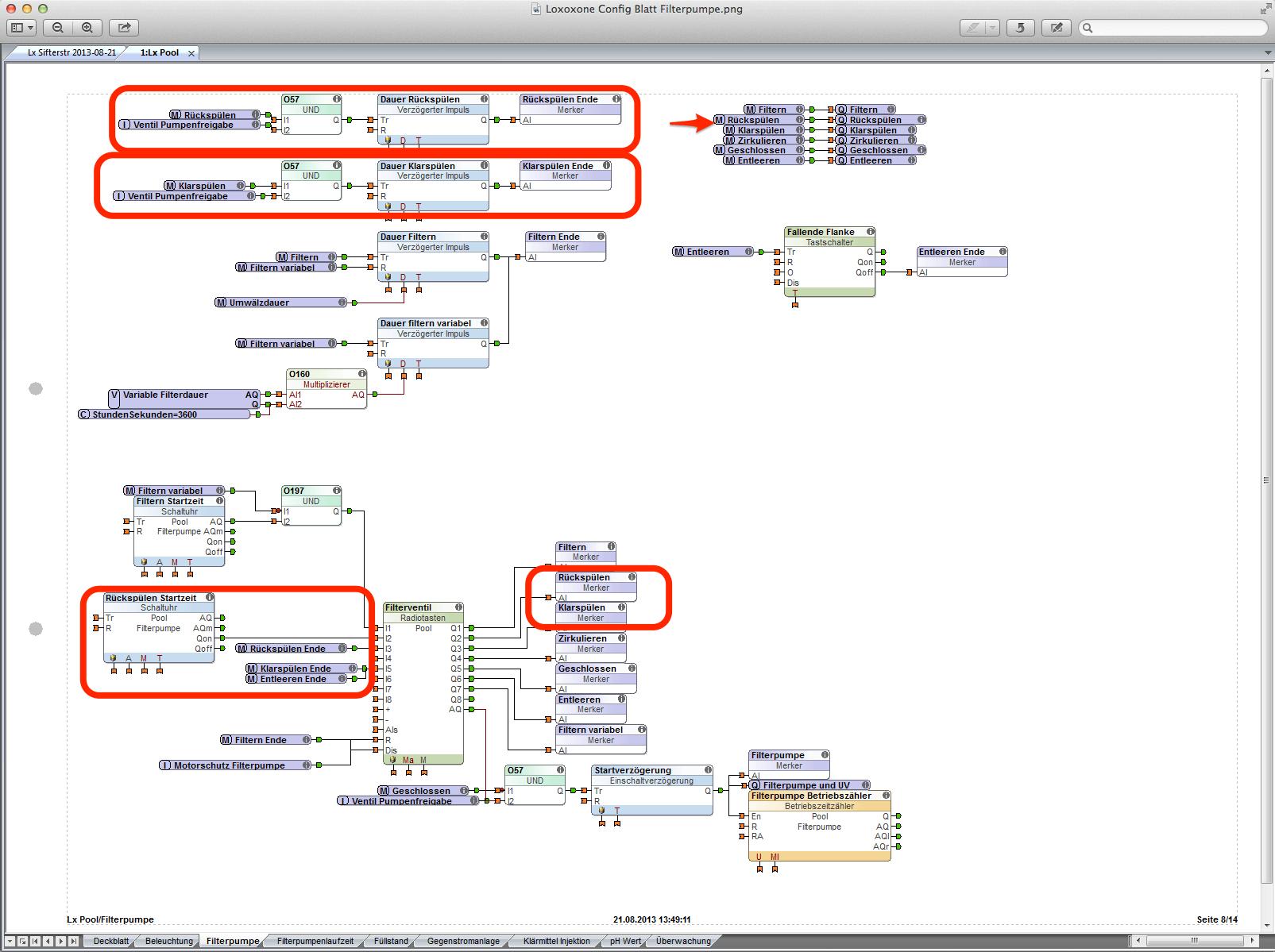 Loxone Config automatické proplachování