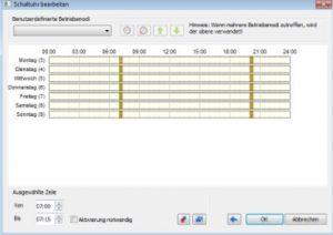 nastavení časů filtrování pomocí časovače Loxone