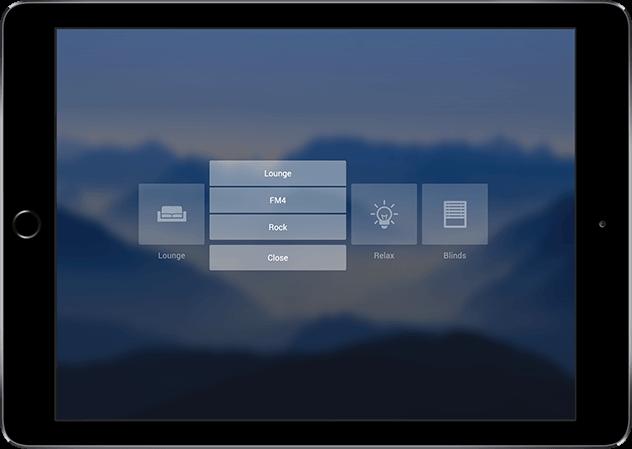 Aplikace Loxone výběr hudebního zdroje
