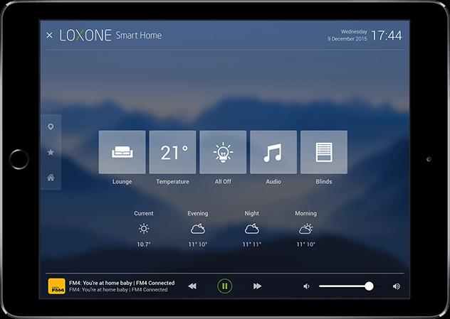 Aplikace Loxone Úvodní obrazovka