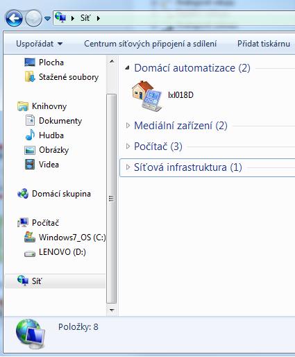 Windows místní síť domácí automatizace