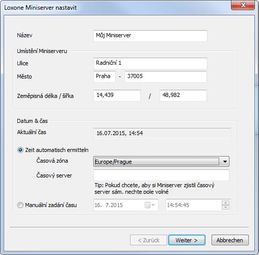 Loxone Config první nastavení Miniserveru