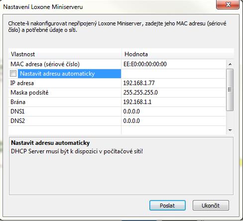 Zadání IP adresy miniserveru