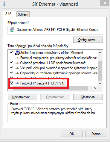 Síť ethernet, vlastnosti, Protokol verze 4 (TCP/IPv4)