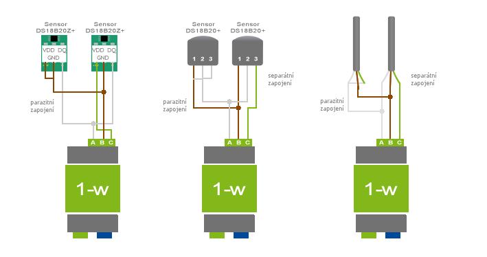 schéma zapojení 1-wire teplotní senzor