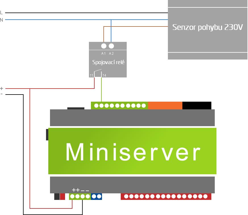 schéma zapojení pohybového senzoru 230V na digitální vstup