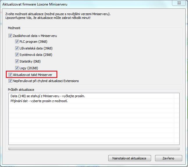 Loxone Config aktualizace firmware