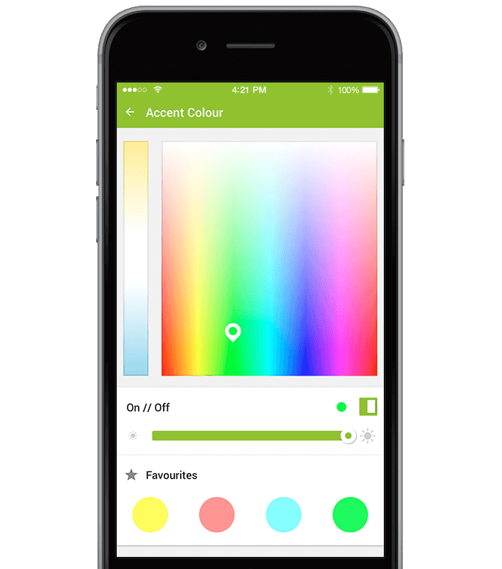 ovládání barev pomocí aplikace Loxone