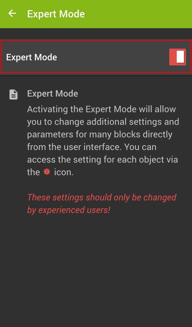 expertní režim v loxone app krok 2