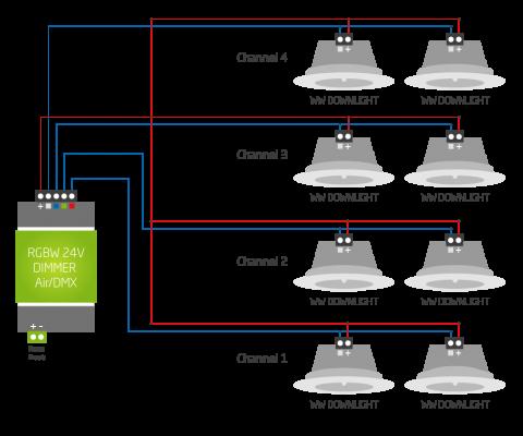 LED spot WW Loxone zapojení kabeláž