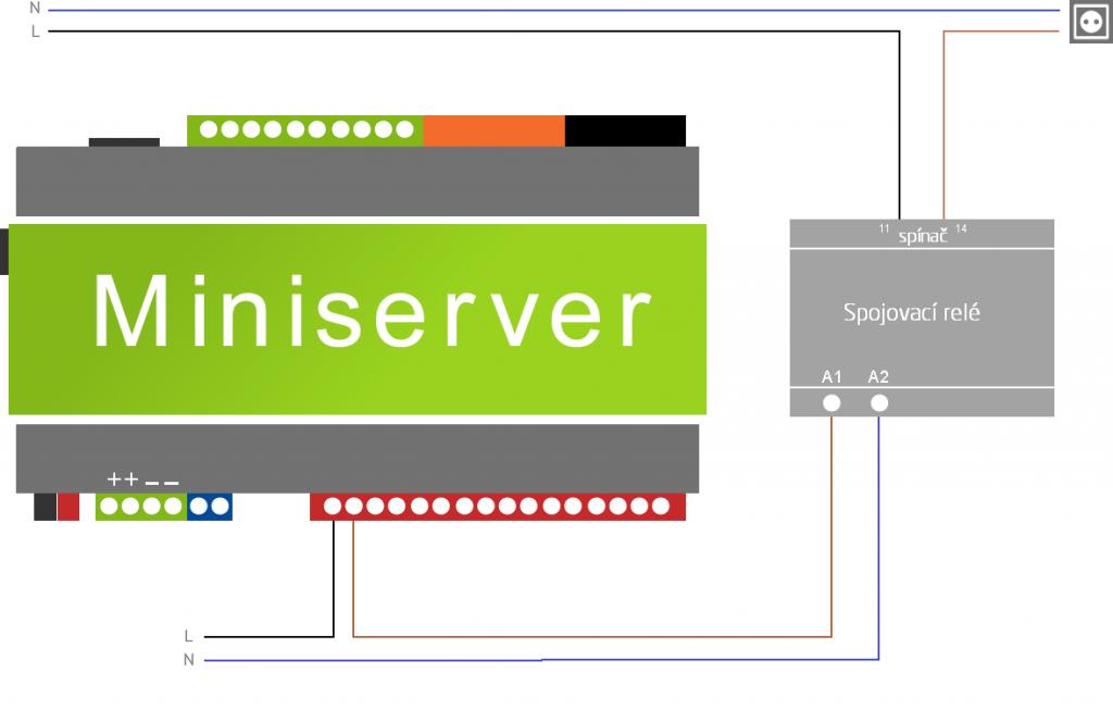 schéma zapojení spojovacího relé pro vyšší zatížení