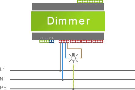 schéma Zapojení světla na Dimmer Loxone