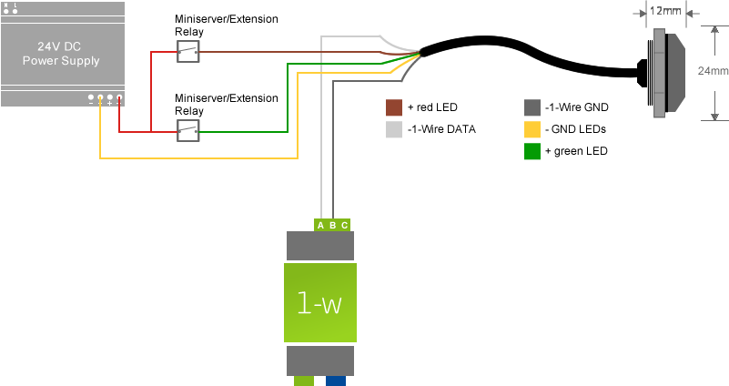 schéma zapojení 1-Wire čtečka ibutton