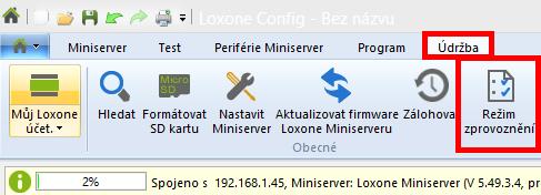 Loxone config režim zprovoznění