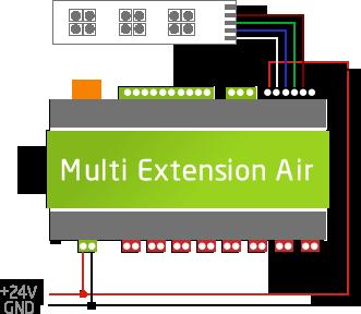 schéma připojení 24 V zdroje extension