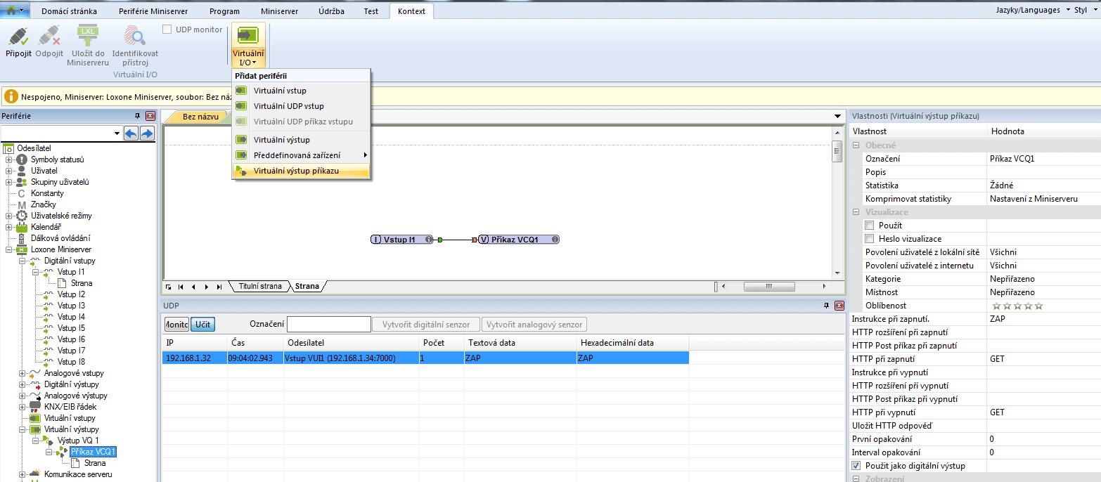 Komunikace UDP virtualnich prikazu