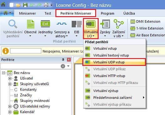 konfigurace virtuální UDP vstup