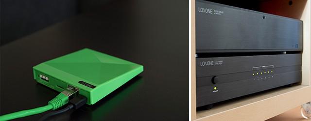 Inteligentní audiosystém Loxone Music server ovládaný centrální jednotkou Miniserver Go