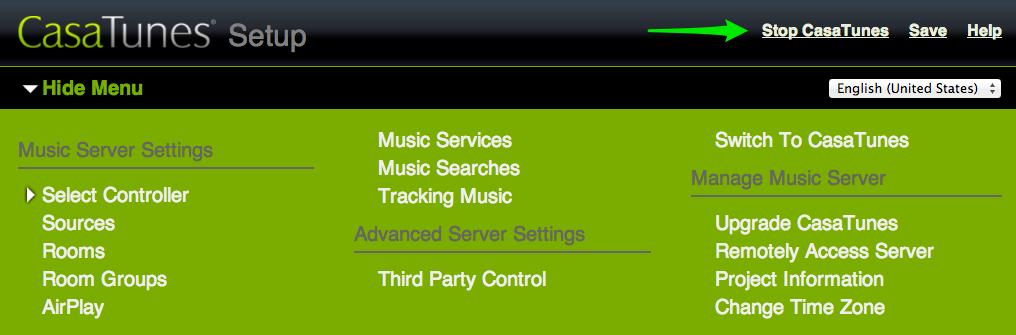 music server restart