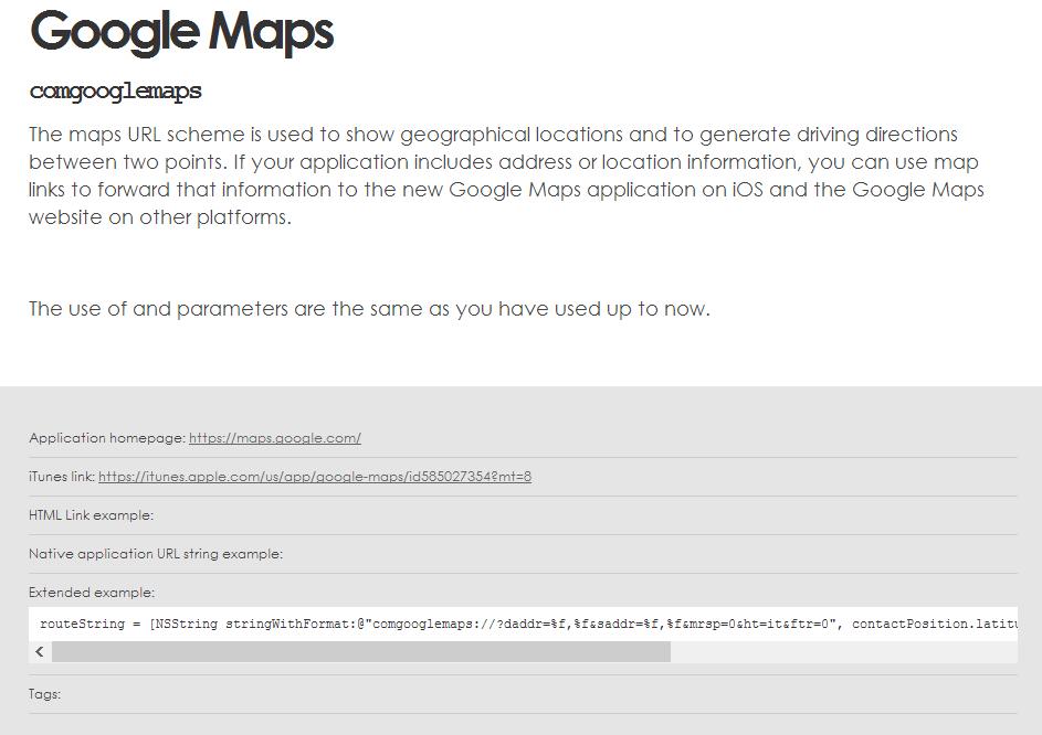 open url priklad google maps