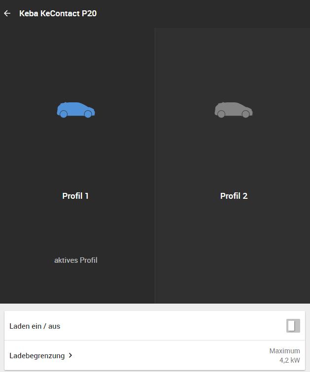 profily pro různá auta Keba Wallbox Loxone Miniserver