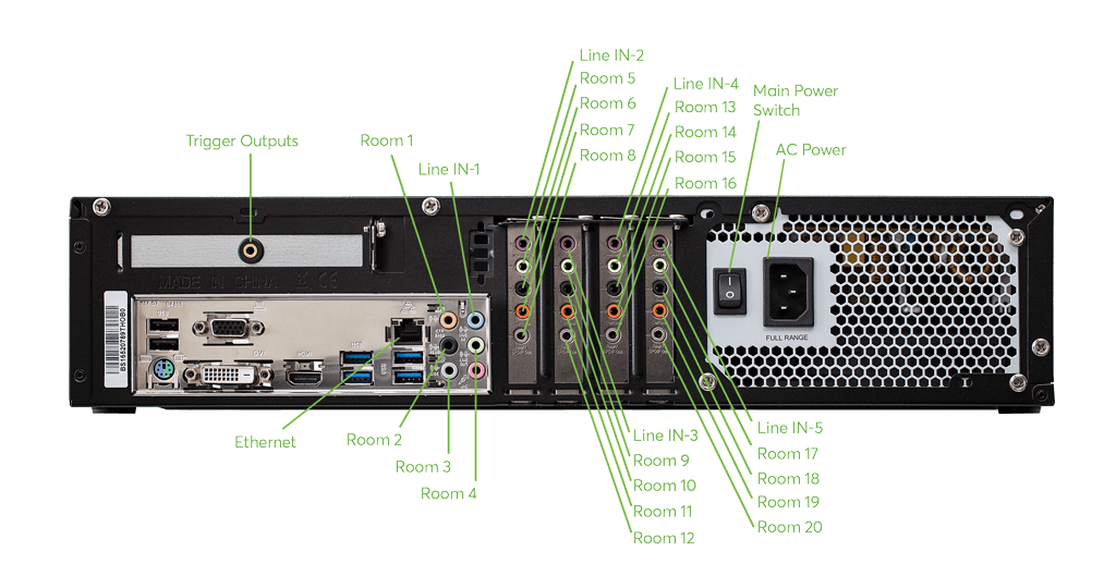 Loxone Music Server 2018 výstupy