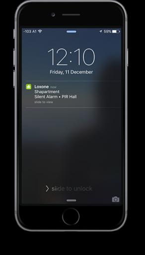 Aplikace Loxone notifikace push