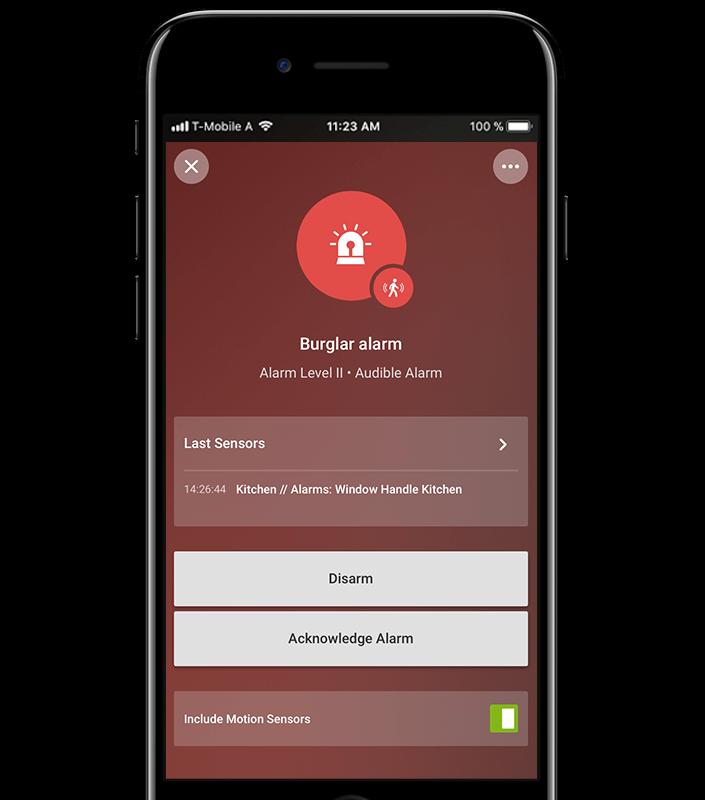 Aplikace pro chytrý dům: alarm v druhé fázi