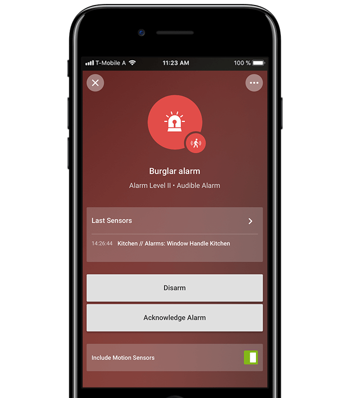 Ukázka oznámení alarmu v mobilu