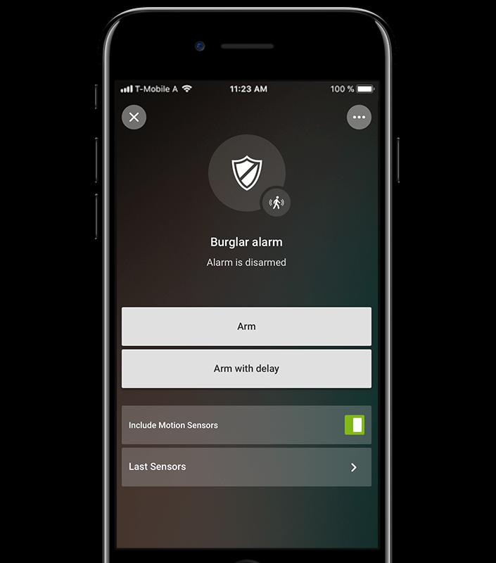 Aplikace pro chytrý dům: alarm neaktivní