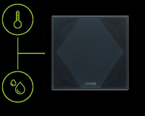 integrovaný senzor teploty a vlhkosti v Loxone Touch