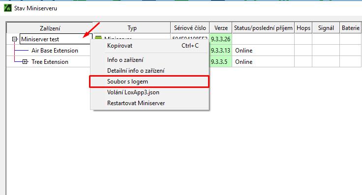 Status zařízení - deflog