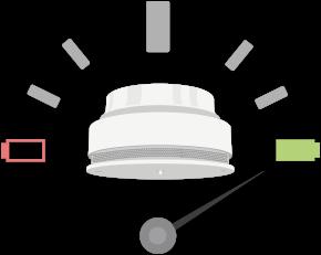 Detektor kouře hlásí a kontroluje stav baterie