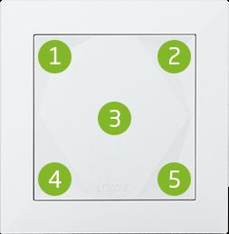 Dotykové zóny na smart home tlačítku Loxone Touch
