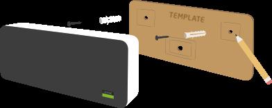 K reproduktoru je dodávaná i šablona pro díry do zdi.