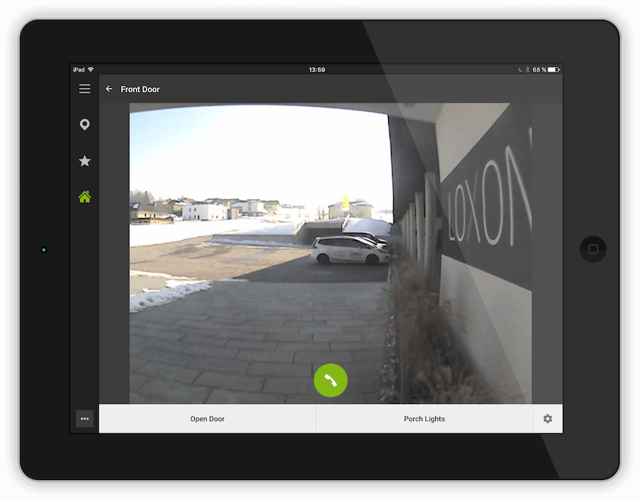 ukázka smart home aplikace pro intercom v tabletu
