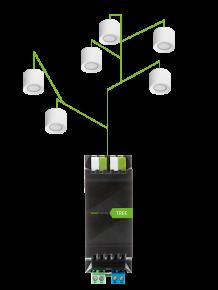 zobrazení schématu zapojeni led spotů loxone do Tree Extension