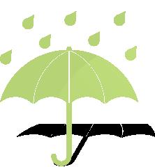 déšť a děštník