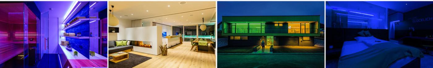 využití světelných scén vytvoří rozdílné nálady místností