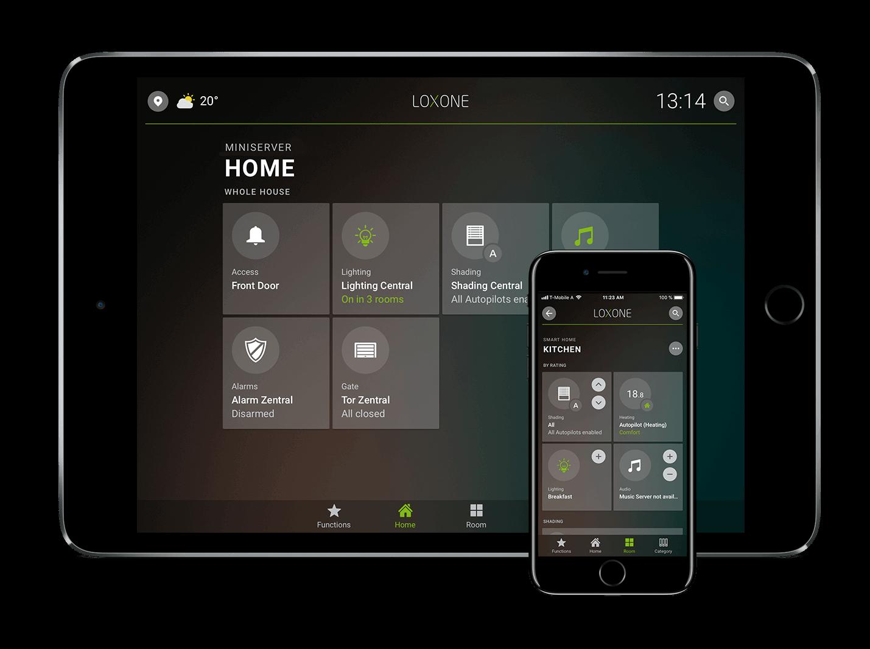 Aplikace pro chytré domácnosti Loxone na tabletu a mobilu