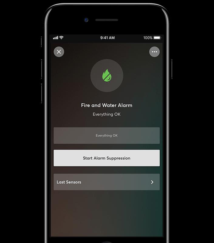aplikace ukazuje stav alarmu: vše v pořádku