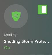 dlaždice v aplikaci pro ovládání funkce Ochrana před bouřkou