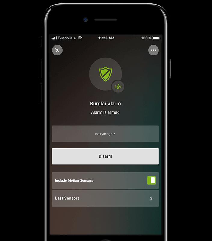 Aplikace pro chytrý dům: alarm aktivní