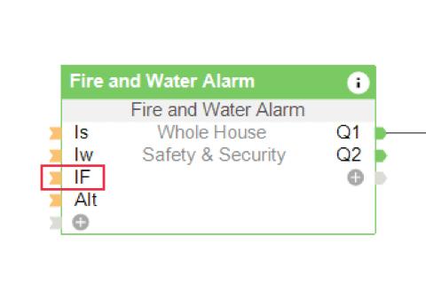 vstup pro obloukovou ochranu na funkčním bloku Centrála požáru a úniku vody