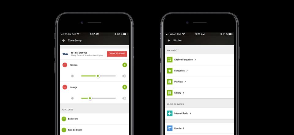 ovládání multiroom systému v aplikaci