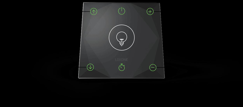grafika znázorňující ovládání chytrého tlačítka Touch & Grill od Loxone
