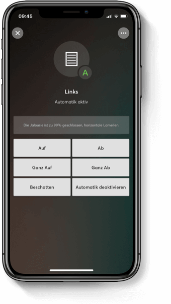 Aplikace v chytrém telefonu pro ovládání stínění