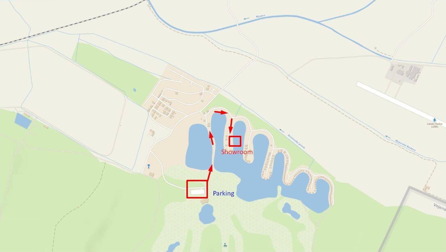 mapa areálu penati golf - parkování a cesta k chatě