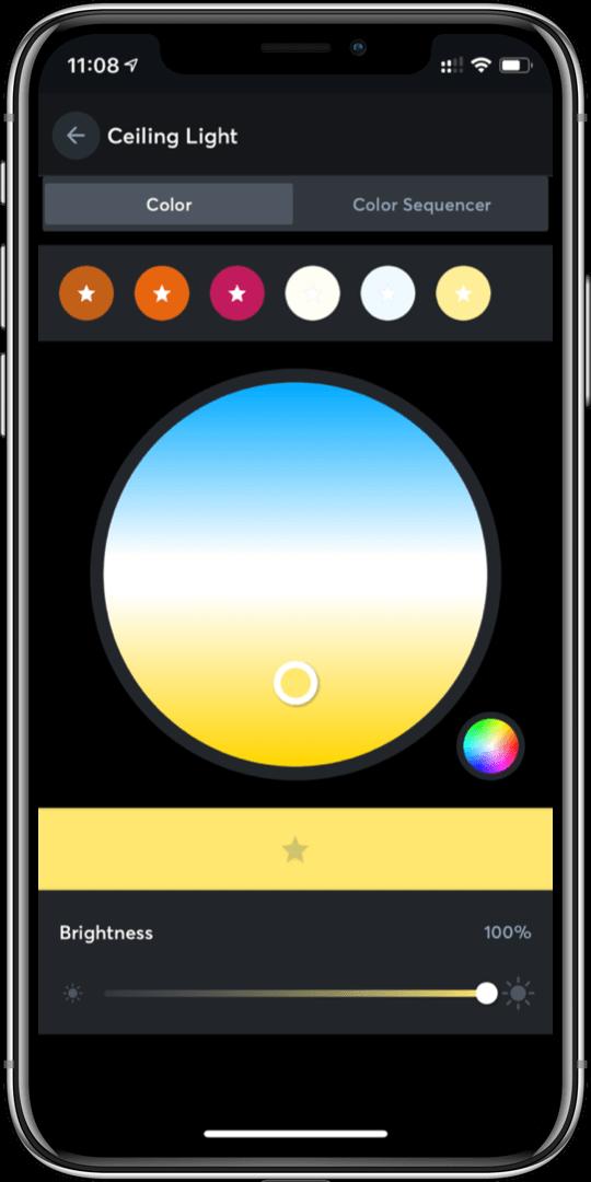 nastavení barevné teploty světla v aplikaci